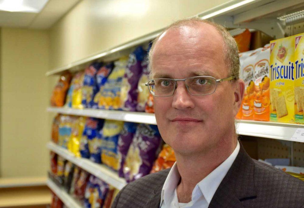 Professor in a grocery aisle