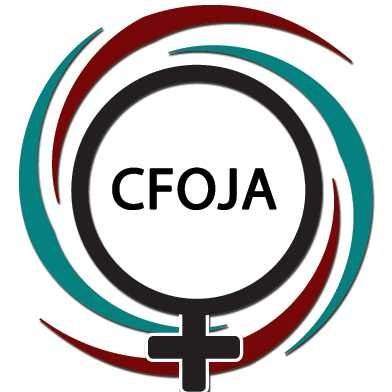 Logo shows a female symbol and the letters CFOJA
